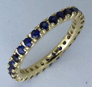 R122 Genuine 9K or 18K Gold Natural Sapphire 1.00ct Full Eternity Wedding Ring