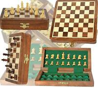 """7""""x 7"""" Wooden Magnetic Travel Chess Set With Drawer & Staunton Chess Pieces"""