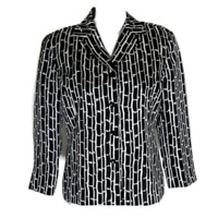 Talbots Womens Blazer Suit Jacket 3/4 Sleeves Silk Black White Ladies Size 8