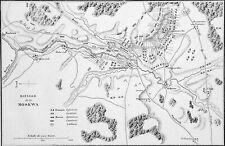 STRATÉGIE - CARTE de la BATAILLE de la MOSKOVA (BORODINO)- Gravure du 19e siècle