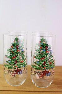 "4 Noel Luminarc Glass Tumblers Green Holiday Christmas Tree Glasses 16 oz 6 """