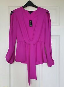 Express Fuchsia Pink Tie Front Blouse Top with Open Sleeves XS Extra Small NEW