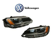 Genuine Volkswagen Jetta 11-16 Pair Set of Left & Right Halogen Headlight Assies