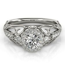 1.10Ct Art Deco Off White Moissanite Vintage Engagement Ring 925 Sterling Silver