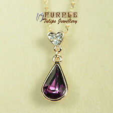 18CT Rose Gold GP Amethyst Teardrop Necklace Made With Swarovski Crystals