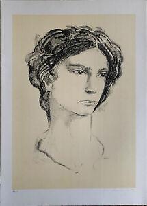 PIETRO ANNIGONI litografia Volto maschile 70x50 firmata numerata 98/100 Tritone