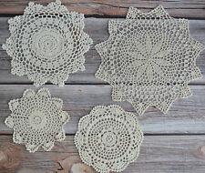 4 Crochet Doilies Lot Country Rustic Wedding Ecru Table Runners Dreamcatchers