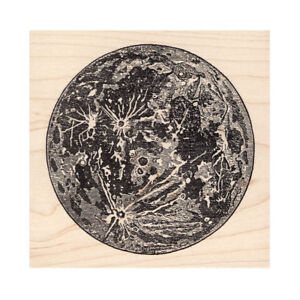Large Moon Beeswax Rubber Stamp Mounted Scenic Landscape