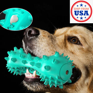 Pet Dog Toys Rubber Bone Chewers Teeth Cleaning Oral Toothbrush Squeeze Squeak