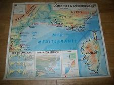 ANCIEN CARTE SCOLAIRE MDI-FRANCE-CÔTES de La MéDITERRANéE/GARONNE-1969