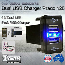 Dual Blue USB Charger Switch For Toyota Landcruiser 100 Prado 120 4Runner 79S