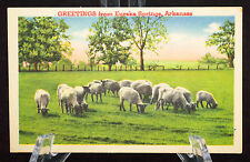 Postcard Greetings From Eureka Springs Arkansas AR Linen Divided Back Sheep