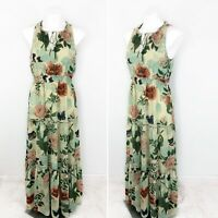 Anthropologie Maeve Tiered Maravilla Maxi Dress Green Motif Floral Size 10