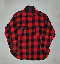 Old vtg 1940s Hunting Jacket Johnson Woolen Mills red black shadow plaid shirt
