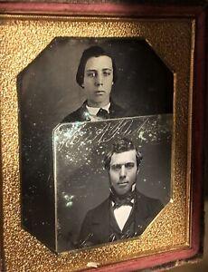Unusual Arrangement 1/6 & 1/9 Daguerreotypes of Men ID'd Name Scratched on Plate