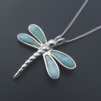 Hot Sale Solid 925 Sterling Silver Natural Larimar Dragonfly Necklace Pendant