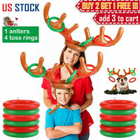 Inflatable Reindeer Antler Hat & Toss Ring Kids Adults Christmas Party Game Toys