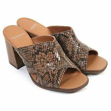 Vagabond Women's Lea Mule Embossed Leather Slip On Mid Heel Brown