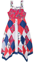 Girls Floral Polkadot Dress New Kids Pink Navy Party Dresses Age 2-3 3-4 4-5 Yrs