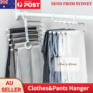 5 in1 Multi-functional Pants rack Stainless-Steel Wardrobe Magic Clothes Hanger