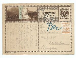 AUSTRIA: PS  to Sweden 1929, postage due.