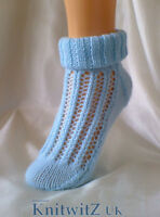 Easy Knit Sock Knitting Pattern/Instructions to knit Ladies Lace By Knitwitz