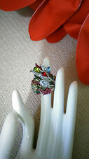 Crystal BIRD Ring Silver Tone Stretch ~ Cocktail Fashion Jewel RING ~ EUC!!