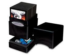 Ultra Pro SATIN Midnight Black METALLIC Tower Deck Box Compartment Card Storage