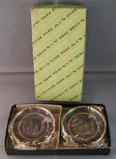 NEW Vintage Hyde Park Copper/Bronze Advertising Bar Ashtrays Coasters in Box (8)