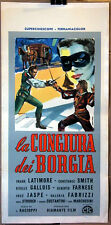 Frank Latimore LA CONGIURA DEI BORGIA locandina originale 1963 art Manfredo