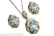 Sterling Silver Blue Topaz Celtic Pendant and Earring Set Gift Boxed Made in UK