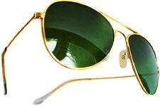 AVIATOR CLASSIC REAL GLASS GREEN LENS PREMIUM SUNGLASSES GOLD FRAMES RETRO STYLE