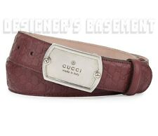 GUCCI burgundy 44-110 belt MICRO GUCCISSIMA leather Logo DOG TAG buckle NWT Auth