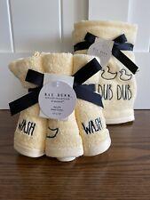 "Rae Dunn Yellow ""Rub Dub Dub� Ducky Hand Towels Set of 2 & ""Wash"" Washcloths"