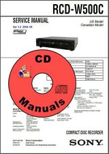 SONY RCD-W500C Service & Owner's CD Manuals cd-dvd Recorder Deck KJ4IYE CD ONLY