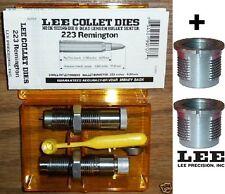 Lee Collet 2-Die Neck Set .223 Rem + 2 Quick Change Bushings 90600+90707 New!