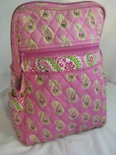 "VERA BRADLEY SMALL BACK PACK / BOOK BAG PINK AND GREEN PAISLEY 12"" Retired"