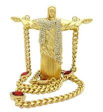 JUMBO SIZE CHRIST REDEEMER PIECE WITH RUBY MIAMI CUBAN CHAIN.