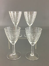 4 vintage clear sherry or wine glasses, needle point engraving 1930's 1940's