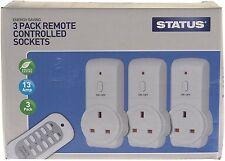 Statut 13A remote control sockets commutateur sans fil maison secteur prise d'alimentation pack de 3