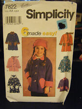 Simplicity 7822 Girl's Jacket & Coat Pattern - Size 2/3/4