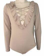 Seed Heritage Light Caramel Frill Tie Long Sleeve Bodysuit Top Size 12 Medium
