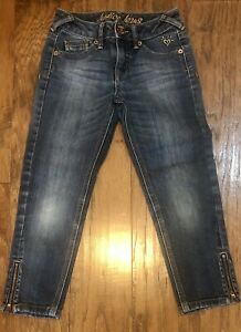 Justice Girls Size 8 Cropped Blue Jeans Denim Capri
