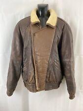 VINTAGE Leather Jacket Erresse Made In Italy Brown Fur Collar Pilot Bomber Biker