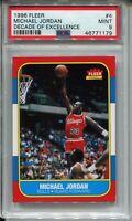1986 Fleer Basketball Michael Jordan Rookie Card PSA MINT 9 Replicate 96 Decade