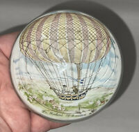 Fr Robert 1st Hot Air Balloon Flight 1784 Commemorative Paperweight Italy Murano