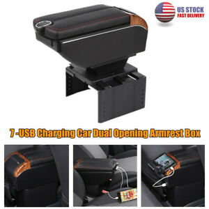 7-USB Universal Car Dual Opening Central Console Armrest Box Cup Holder Storage