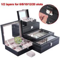 Leather 8/12 Slots Wrist Watch Jewelry Display Box Storage Holder Organizer Case