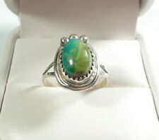 NAVAJO IDA MCCRAY STERLING SILVER BEADED DESIGN ROYSTON TURQUOISE SIZE 7.5 RING