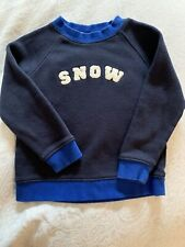 Toddler Boy Janie & Jack Ls Navy With Blue Trim Snow Sweatshirt 2T Euc